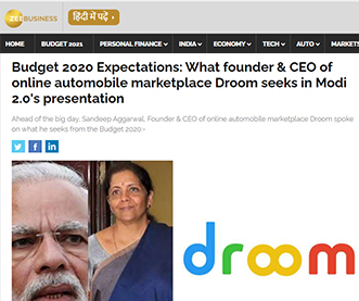 Budget 2020 Expectations: What founder & CEO of online automobile marketplace Droom seeks in Modi 2.0's presentation